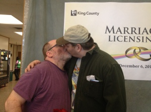 "The day Michael and I got our marriage license, after 15 years together, thanks to 54% of the voters of our state saying ""yes"" to marriage equality."