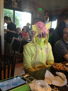 Combining a Fluttershy hoody with a matching ninja mask.