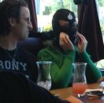 Jared watches Nami putting on a ninja mask.