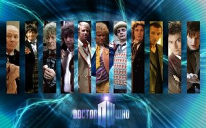 Images of each actor who has played the doctor, over the current show's logo.