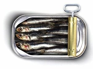 Partially opened sardine tin.