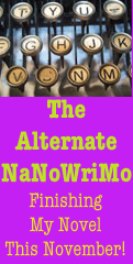 Image of typewriter keys and the words The Alternate NaNoWriMo.