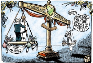 Cartoon showing the equality doesn't unbalance anything.