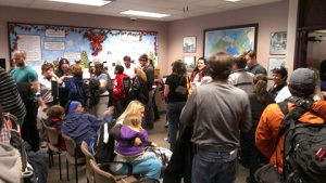 Same-sex couples wait in long lines to wed in Salt Lake City.