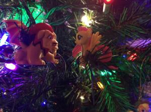 Two toys on the tree.
