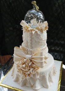 A fancy wedding cake.