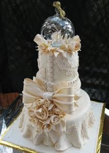 A fancy wedding cake.
