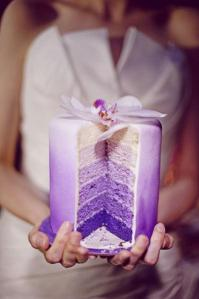 A cut-away of a fancy cake with violet and purple layers.