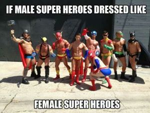 Male superheroes in revealing costumes.