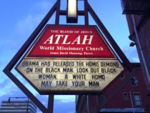 Church sign in Harlem, Sun Feb 23