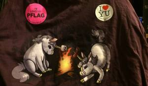 I wore this t-shirt, featuring camping unicorns (Campy-corns!) to this year's Pride Parade and Festival.