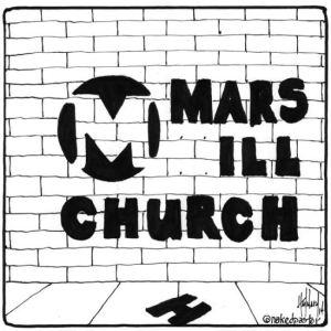 """Mars Hill Church"" cartoon © David Hayward - See more at: http://nakedpastor.com/"