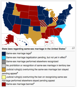 Snapshot of Wikipedia's Marriage Equality map as of Thursday (http://en.wikipedia.org/wiki/Same-sex_marriage_in_the_United_States)
