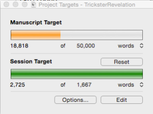 My progress just before midnight, the 11th day of NaNoWriMo.