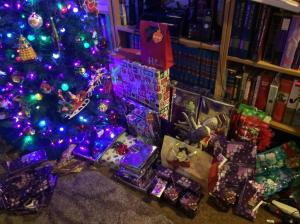 I had a little more than half of all the presents wrapped when I stopped last Friday to sleep for a bit...