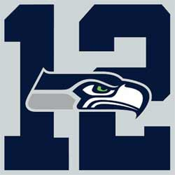 The 12th Man Logo. Many years ago the Seahawks retired Jersey #12 in honor of the teams fans, since a team is allowed 11 players on the field at a time, while the cheering and support of the fans help as much as an extra player.