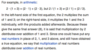 A screenshot of part of Wikipedia's article on the Distributive Property.
