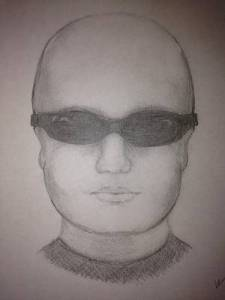 The not-terribly detailed sketch local police released of the possible suspect.