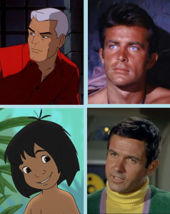 Clockwise from upper left: Race Bannon, James West, Mowgli, Major Don West.