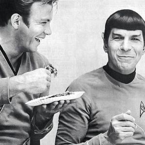 Publicity photo of William Shatner and Leonard Nimoy on the set of the original Star Trek series.