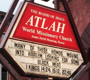 Pastor Manning and his church are at it again with  weird anti-gay messages on their church sign. (Click to embiggen)