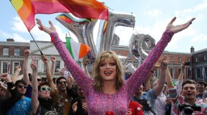 Panti Bliss celebrates with supporters of same-sex marriage at Dublin Castle. (Paul Faith/AFP/Getty Images)