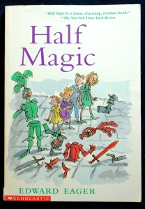 The cover of Half Magic, by by Edward Eager with illustrations by N. M. Bodecker.