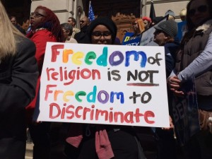 Indiana RFRA protest rally earlier this year. (WISH-TV/Howard Monroe)