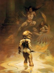Frazetta's cover painting for The Book of Paradox by Louise Cooper, published in 1973. (Click to embiggen)