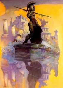 """""""Atlantis"""" my very favorite Frazetta painting. It hung onto the poster long after all the others. (Click to embiggen)"""