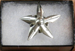 Winners and nominees of the John W. Campbell Award for Best New Writer each receive this pin, which is a star made of fountain pin nubs.