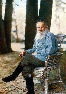 A portrait photograph of Tolstoy taken in 1908 by  Sergei Prokudin-Gorsky, who had invented one of the early methods of color photography.