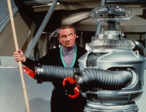 Jonathan Harris as Dr Smith with Bob May inside the robot costume. (click to embiggen)