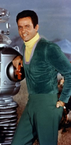 Mark Goddard as Major Don West with the robot. (click to embiggen)