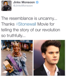 Marsha P. Johnson (on the left) was an African-American transwoman/street queen who actually participated in the Stonewall riot and was seen by several witnesses smashing a police car with a brick near the beginning. Later she was a co-founder of the Street Transvestite Action Revolutionaries. The actor on the right is apparently portraying the first brick-thrower in the new Stonewall movie.