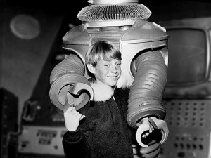 Bill Mumy as Will Robinson with the robot. (click to embiggen)