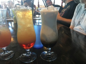 My second (nearly finished) and third Fluttershy Mai Tai and the new drink for us: the Frost Mage. It was very yummy!