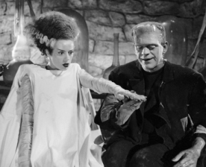 Elsa Lancaster as the bride and Boris Karloff as the monster. © Universal Pictures (Click to embiggen)