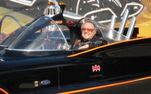 George Barris in the original Batmobile © 2015 Motor Trend Magazine