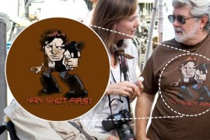 After re-editing his own movies to change the order of the shot, Lucas was spotted in 2012 wearing a Han Shot First t-shirt on the set of Indiana Jones and the Kingdom of the Crystal Skull.