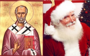 The original Saint Nicholas and his modern avatar.