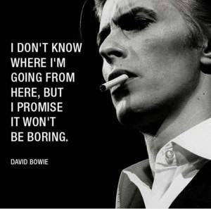 """I don't know where I'm going from here, but I promise it won't be boring."" - David Bowie"