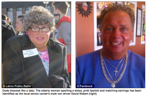 The elderly woman sporting a dress, pink lipstick and matching earrings (left) has been identified as the local senior center's middle-aged male van driver David Robert