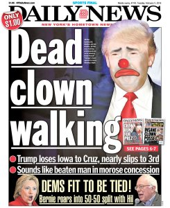 The cover of the New York Daily News the day after the Iowa Caucuses (click to embiggen)