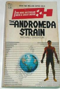 Cover of the first paperback edition of The Andromeda Strain, by Michael Crichton.