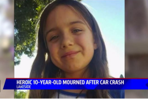 10 year old hero Kiera Larsen died pushing 2 toddlers out the way of a car.