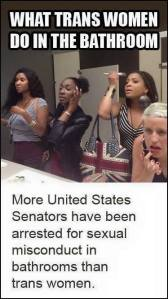 """More United States Senators have been arrested for sexual misconduct in bathrooms than trans women."""