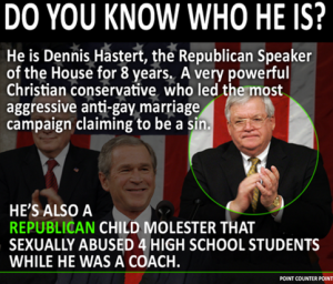When the former Republican Speaker of the House was a high school wrestling coach he sexually molested male students.