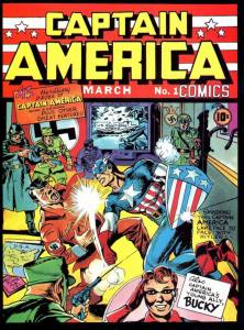 The cover of the very first appearance in any comic of Captain America shows him punching out Adolf Hitler, in case there was any doubt whose side he was on.