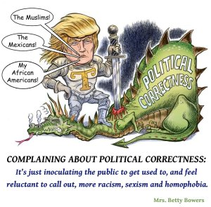 """""""Complaining about political correctness: It's just inoculating the public to get used to, and feel reluctant to call out, more racism, sexism, and homophobia."""" BettyBowers.Com"""